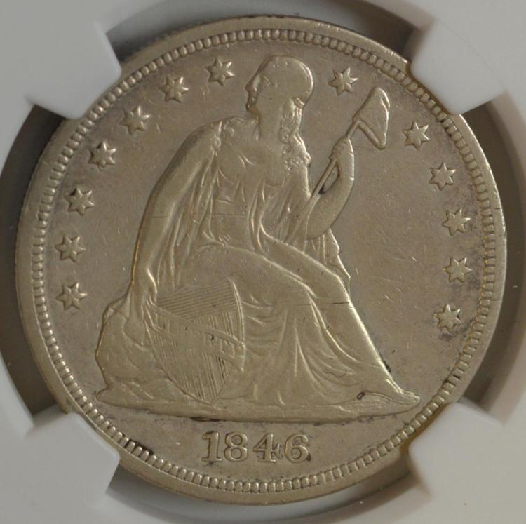 1846 Liberty Seated Silver Dollar NGC VF Det. I/C