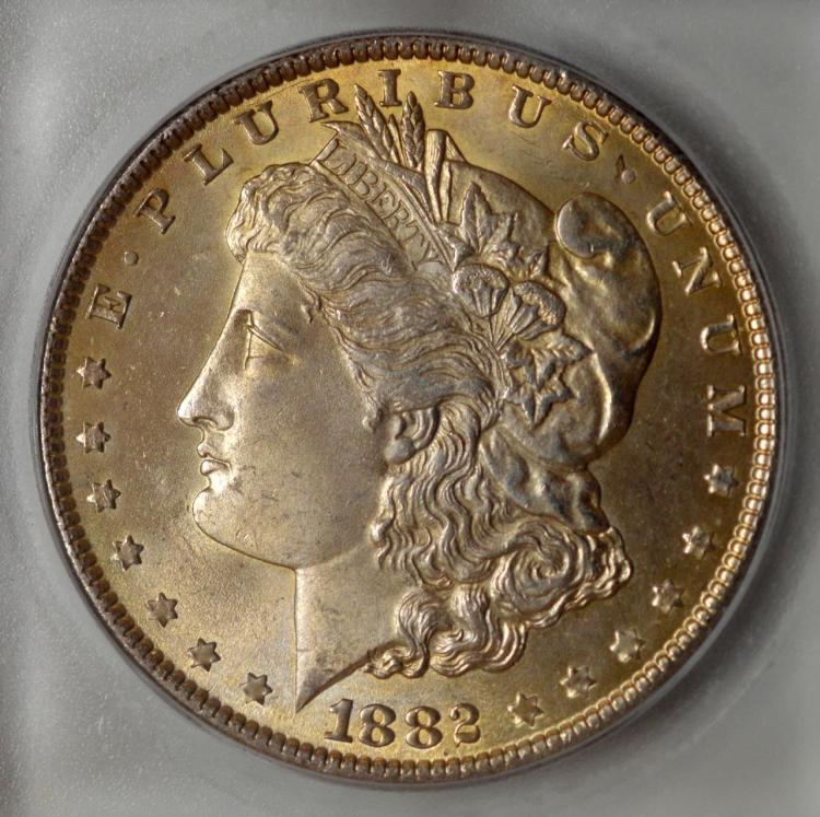 1882 Morgan Silver Dollar ICG MS 64 with Toning