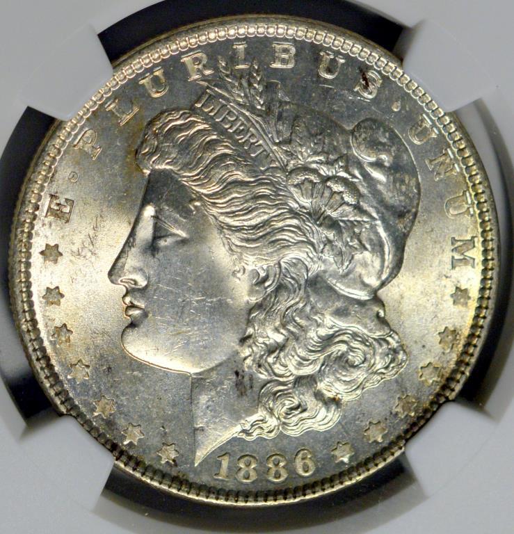 1886 Morgan Silver Dollar NGC MS 63