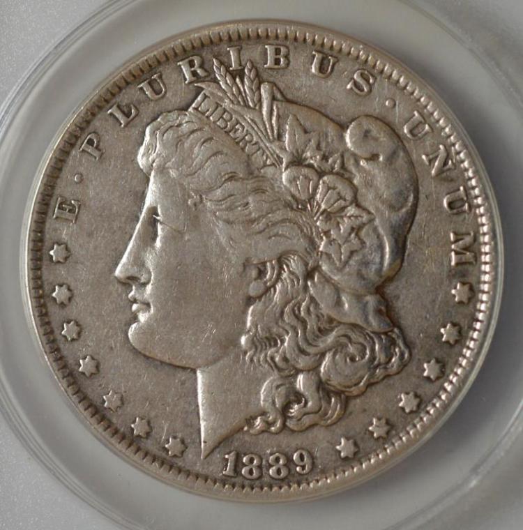 1889-CC Morgan Silver Dollar ANACS EF 40 Details
