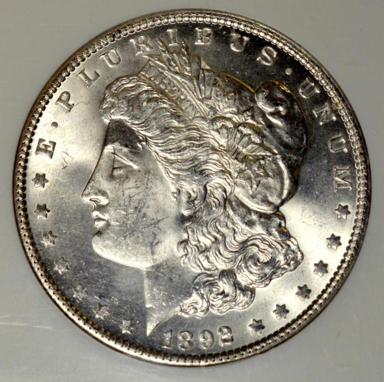 1892 Morgan Silver Dollar NGC MS 63
