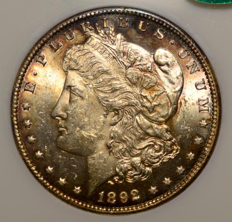 1892-CC Morgan Silver Dollar NGC MS 61 CAC, Toned