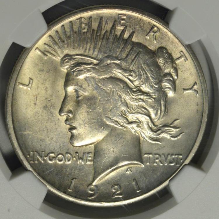 1921 HR Peace Silver Dollar NGC UNC Details I/C