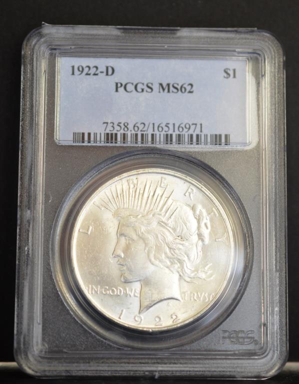 1922-D Peace Silver Dollar PCGS MS62