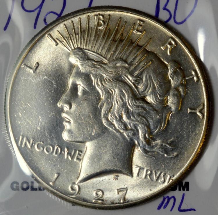 1927 Peace Silver Dollar BU