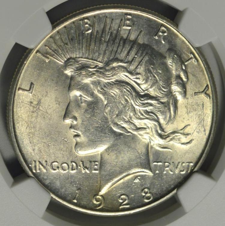 1928-S Peace Silver Dollar NGC UNC Details I/C