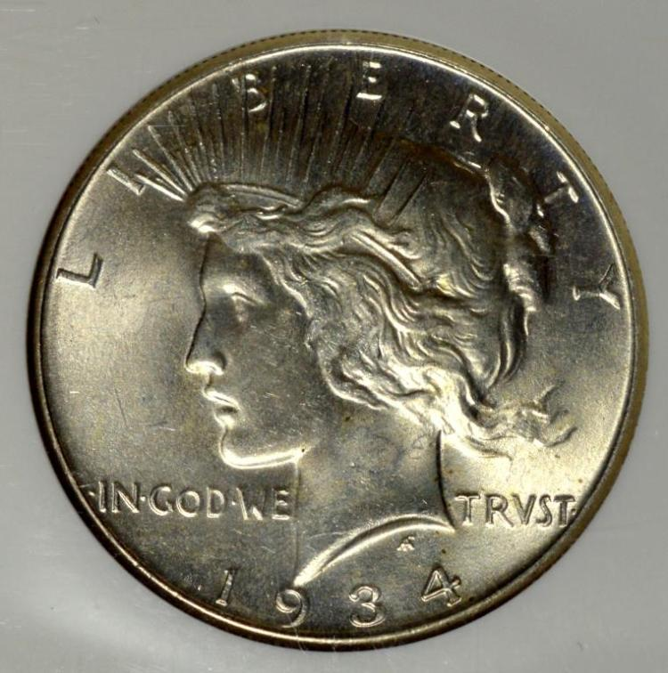 1934 Peace Silver Dollar NGC MS 64