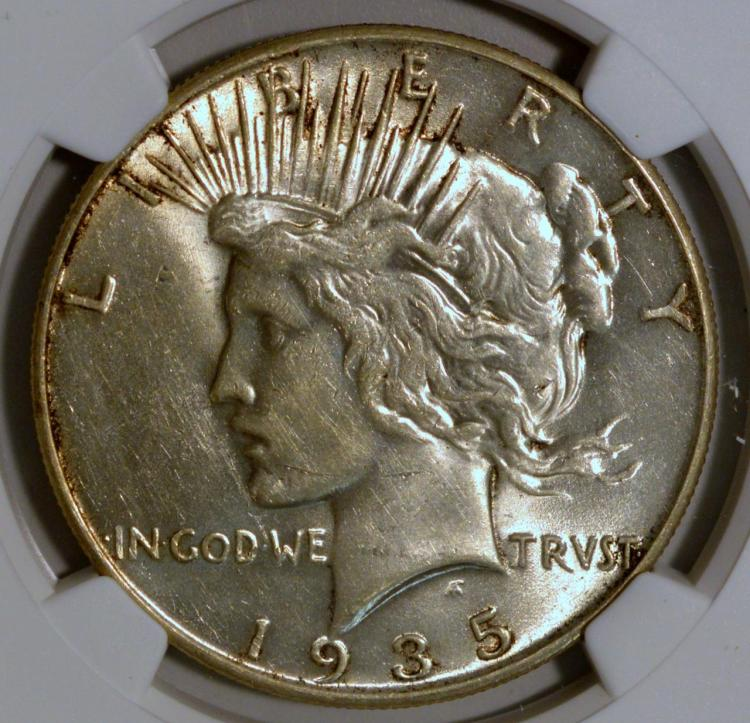 1935 Peace Silver Dollar NGC AU 58