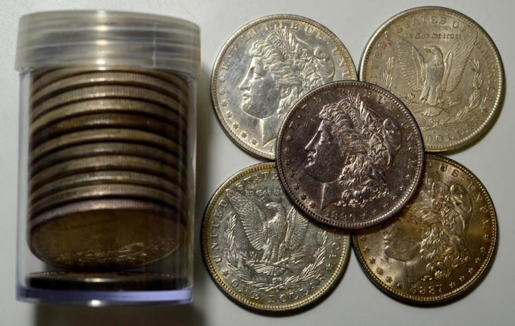 Mixed Morgan Silver Dollar 20 Piece XF-AU Roll