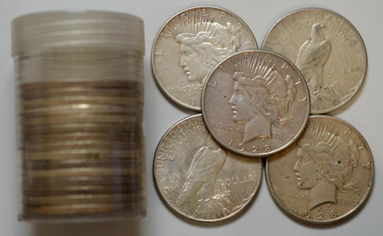 1928-S Peace Silver Dollar 20 Piece Roll VG-XF