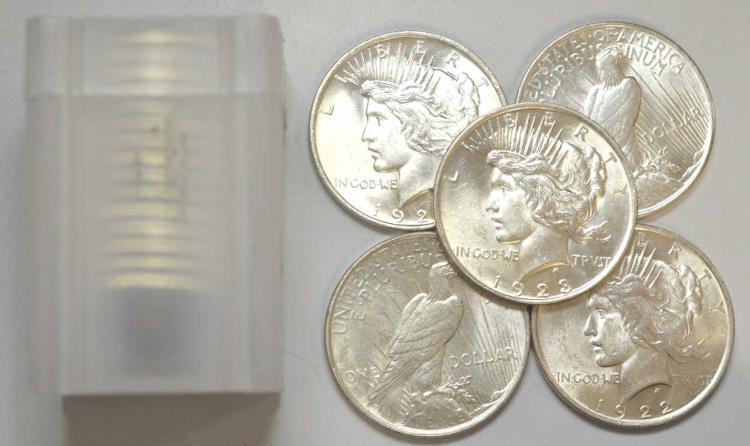 1922-1926 Peace Silver Dollar 20 Piece BU Roll