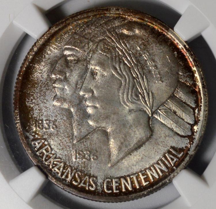 1936 Arkansas Half Dollar NGC MS 67, Toned