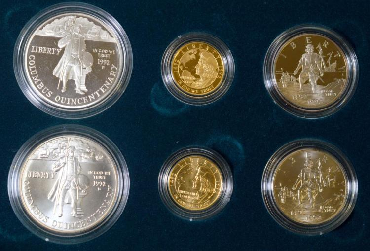 1992 Columbus Quincentenary 5-Coin Set with B&P