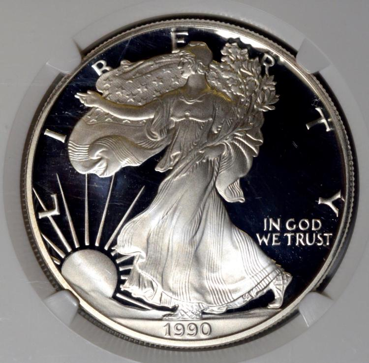 1990-S American Silver Eagle Dollar NGC PF 69 UC