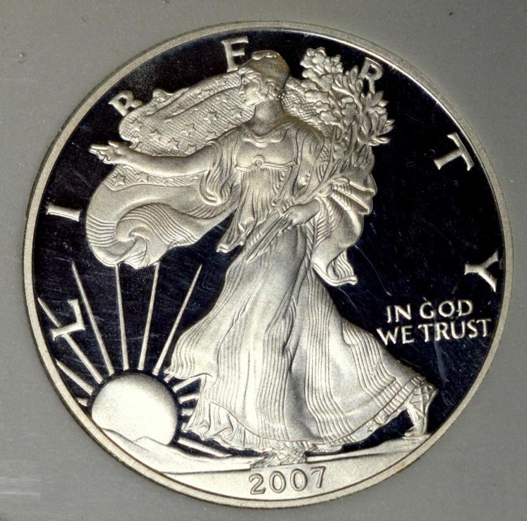 2007-W American Silver Eagle Dollar ANI PF 70 DC