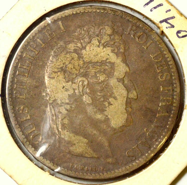 1831W France Silver 5 Francs
