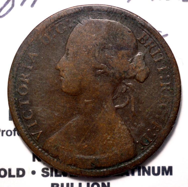 1871 (Rare Date) G. Britain Penny Fine