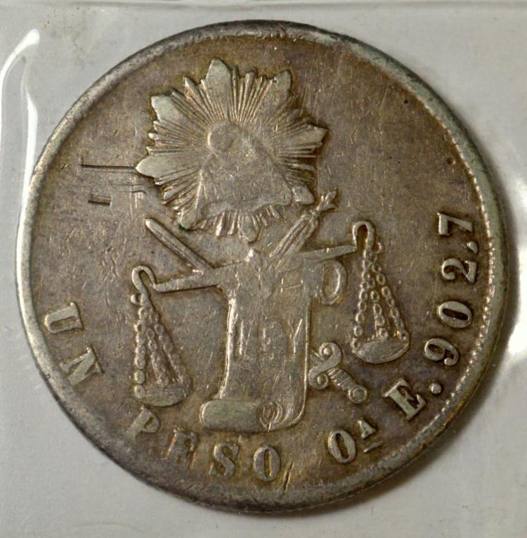 1873Ca E Mexico Silver Peso VF