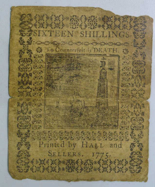 1775 Sixteen Shillings Continental Currency PA VG