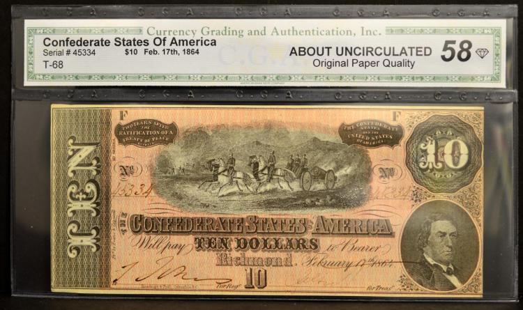 1864 $10 T-68 CSA Richmond, VA CGA AU 58 OPQ