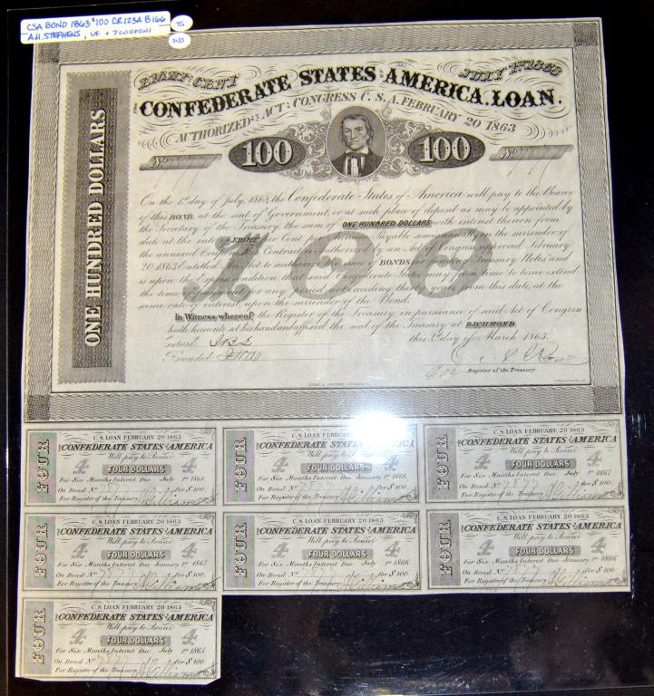 1863 $100 CR-123A B-166 CSA Bond w/7 Coupons VF+