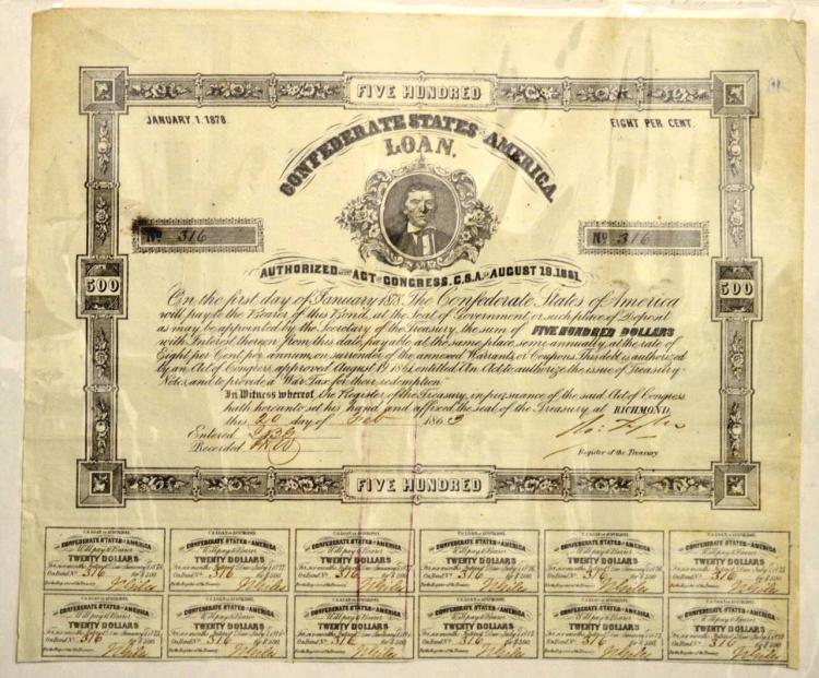 1863 $500 CSA Bond with 12 Coupons