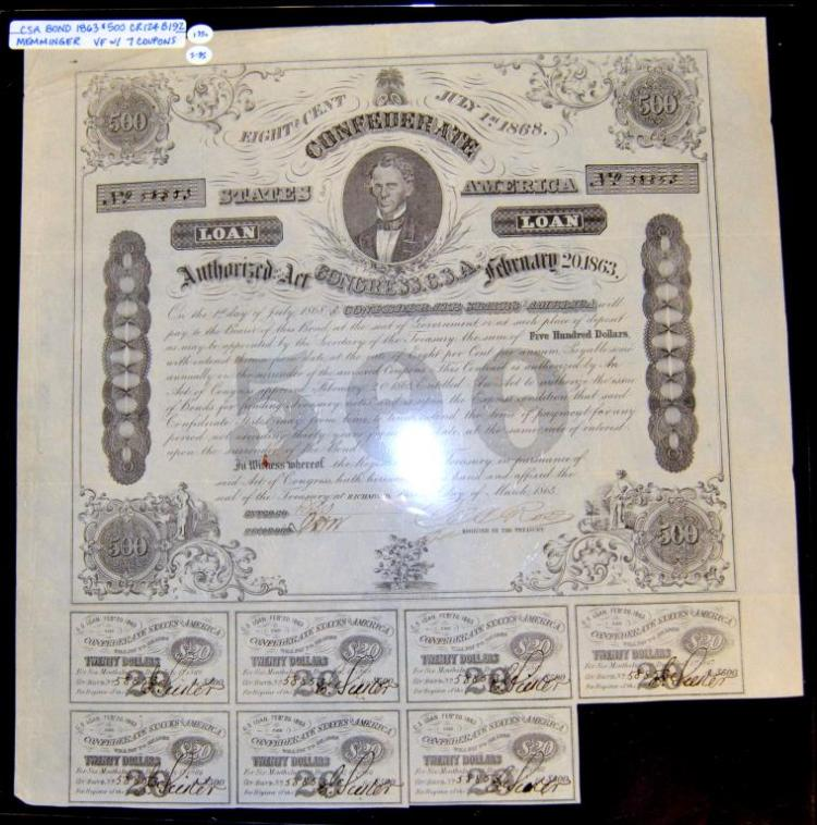 1863 $500 CR-124 B-192 CSA Bond with 7 Coupons VF