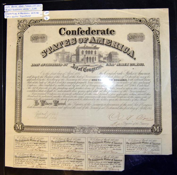 1863 $1000 CR-130C B-267 CSA Bond w/7 Coupons VF+