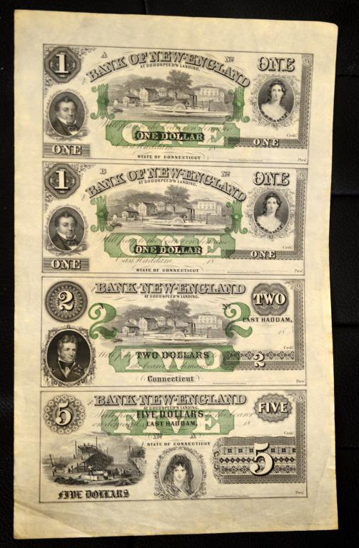 1800's The Bank of New England Uncut Sheet 4 Notes