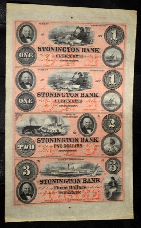 1800's Stonington Bank, CT Uncut Sheet of 4 Notes