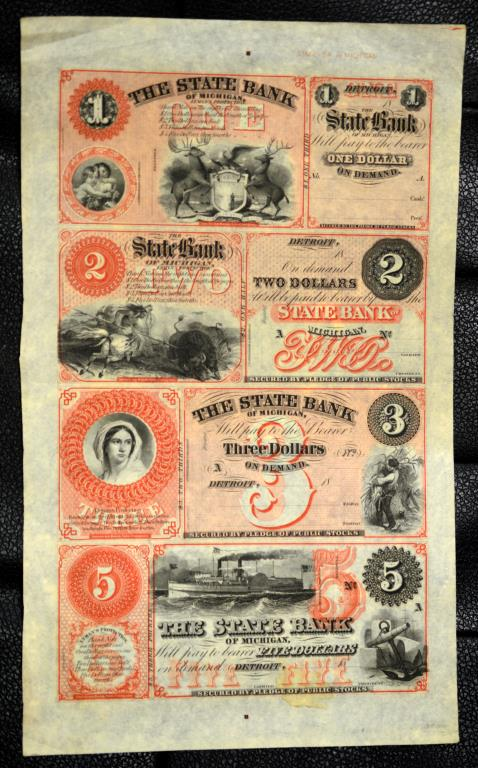 1800's The State Bank of MI Uncut Sheet 4 Notes AU