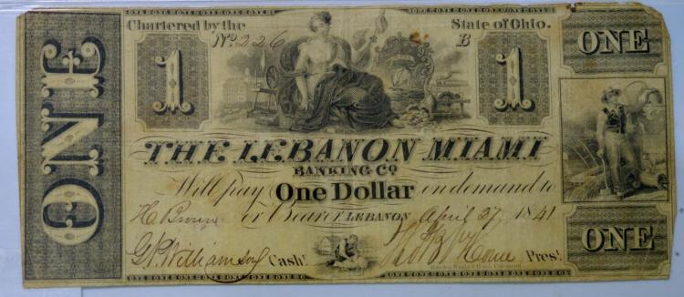 1841 $1 State of OH, Lebanon Obsolete Bank Note VG