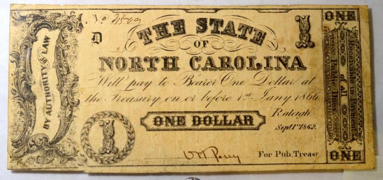1862 $1 State of NC, Raleigh Obsolete Bank Note XF
