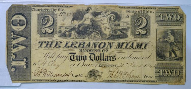 1841 $2 State of OH, Lebanon Obsolete Bank Note VG