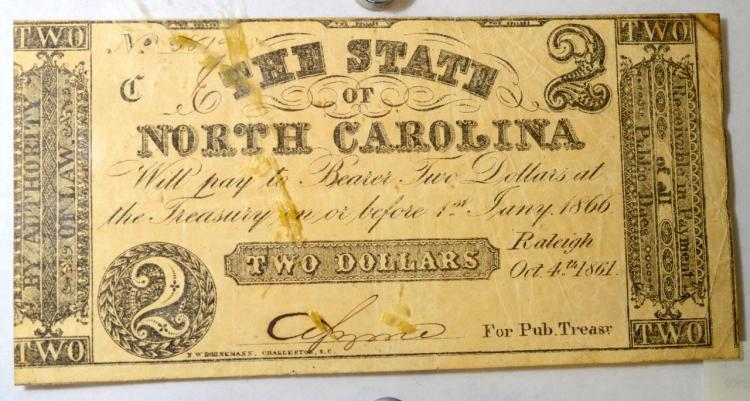 1861 $2 State of NC, Raleigh Obsolete Bank Note XF