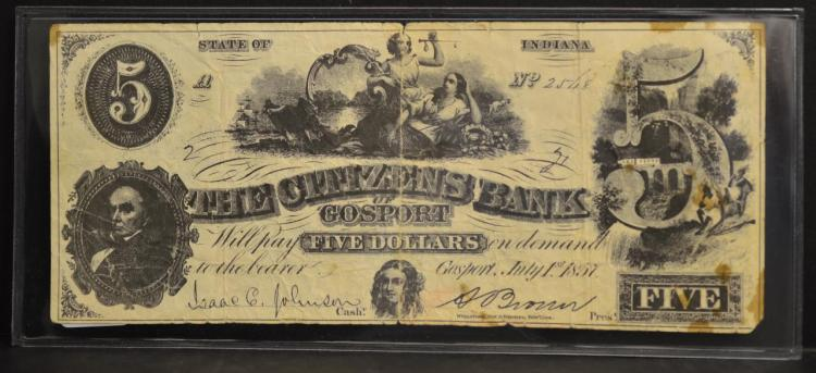 1857 $5 The Citizens Bank of Gosport Bank Note VG
