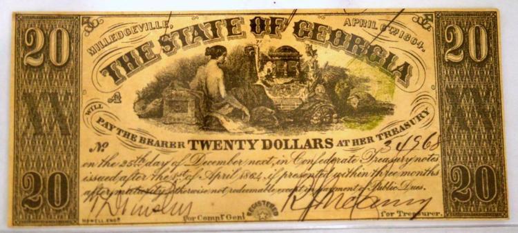 1864 $20 Milledgeville, GA Obsolete Bank Note AU