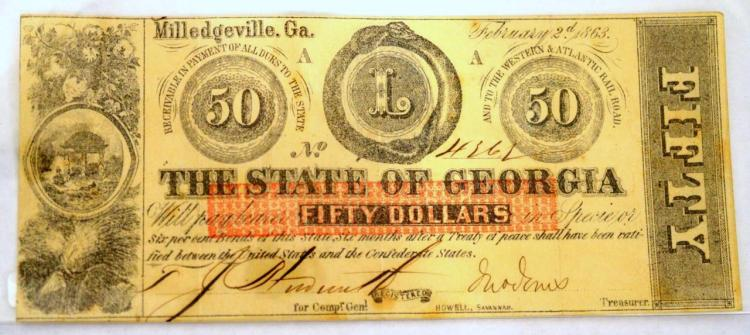 1863 $50 Milledgeville, GA Obsolete Bank Note XF+