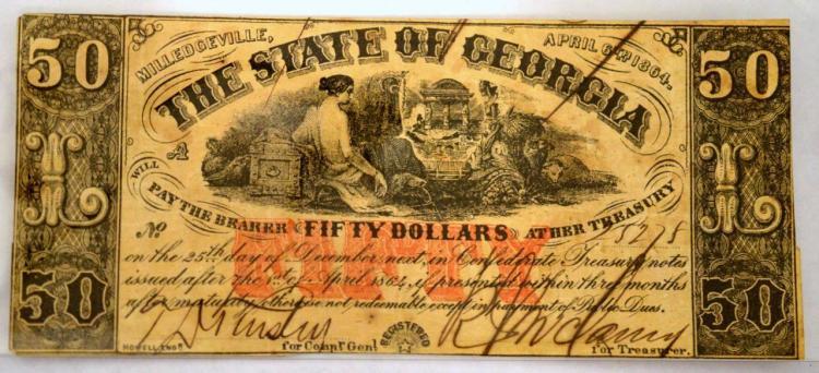 1864 $50 Milledgeville, GA Obsolete Bank Note XF