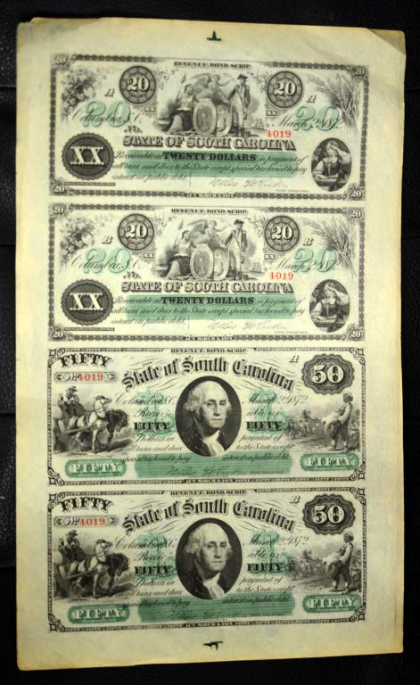 1872 State of SC Uncut Sheet 4 Revenue Bond Scrips