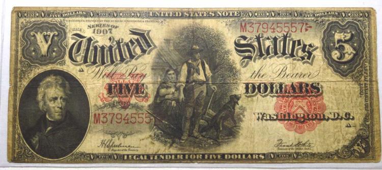 1907 $5 Legal Tender