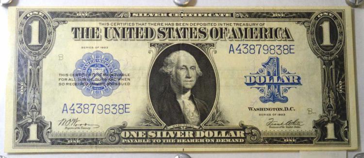 1923 $1 Silver Certificate Large Note AU 58 EPQ