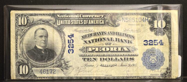 1902 $10 Merchants and Illinois Nat Bank Lg Note F