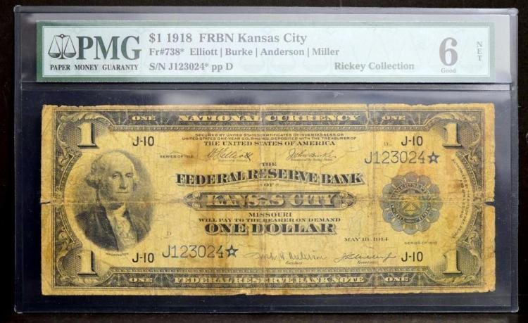 1918 $1 FRB Kansas City, MO Star Note PMG G 6 NET