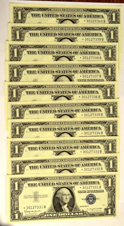 (10) 1957-B $1 Silver Certificate Star Notes MS 65