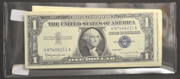 (90) 1957-B $1 Silver Certif. Blue Seal Crisp UNC