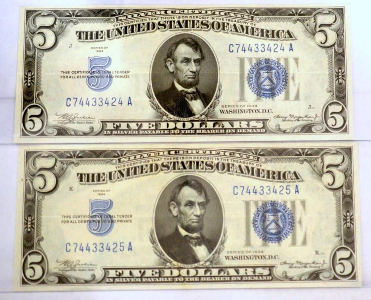 (2) 1934 $5 Silver Certificate Notes AU 58
