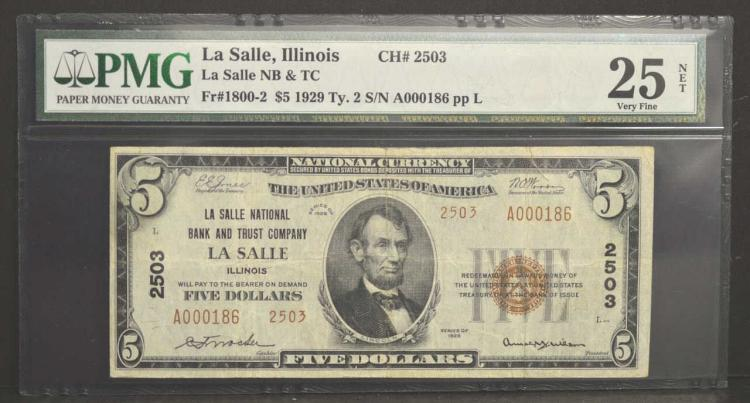 1929 Low Serial # $5 T2 La Salle IL PMG VF 25 NET