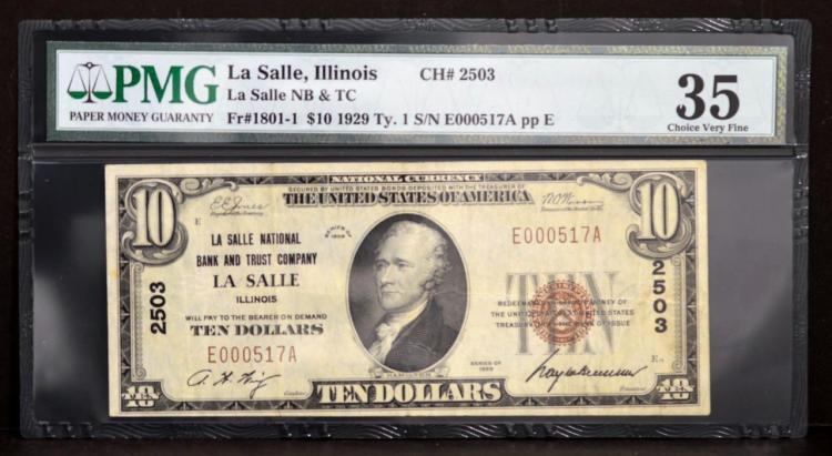 1929 $10 Type 1 La Salle NB & TC, IL. PMG CVF35