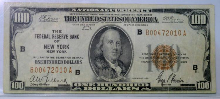 1929 $100 FRB of New York, NY National Currency VF